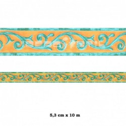 Cenefa adhesiva con estampado Cenefa verde con rombos verdes y azules