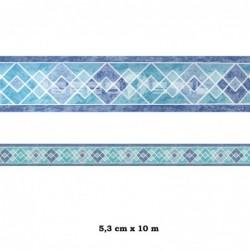 Cenefa adhesiva con estampado de rombos azules
