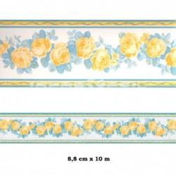 Cenefa no adhesiva con estampado Cenefa blanca flores rosas
