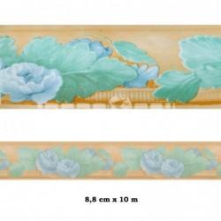 Cenefa no adhesiva con estampado Cenefa marrón flores azules