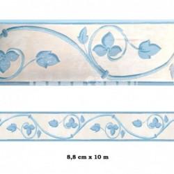 Cenefa no adhesiva con estampado Cenefa beige flores azules