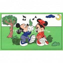Alfombra Disney Mickey y Minnie 0.6x1 Verde con SOPORTE ANTIDESLIZANTE