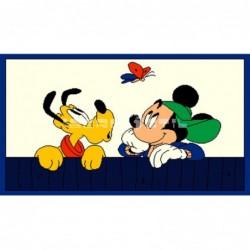 Alfombra Disney Mickey y Pluto 0.6x1 Blanco con SOPORTE ANTIDESLIZANTE