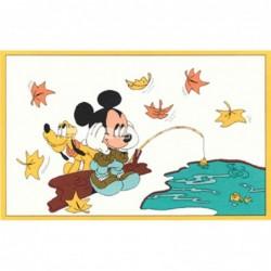 Alfombra Disney Mickey pescando 1x1.60 Beige con SOPORTE ANTIDESLIZANTE