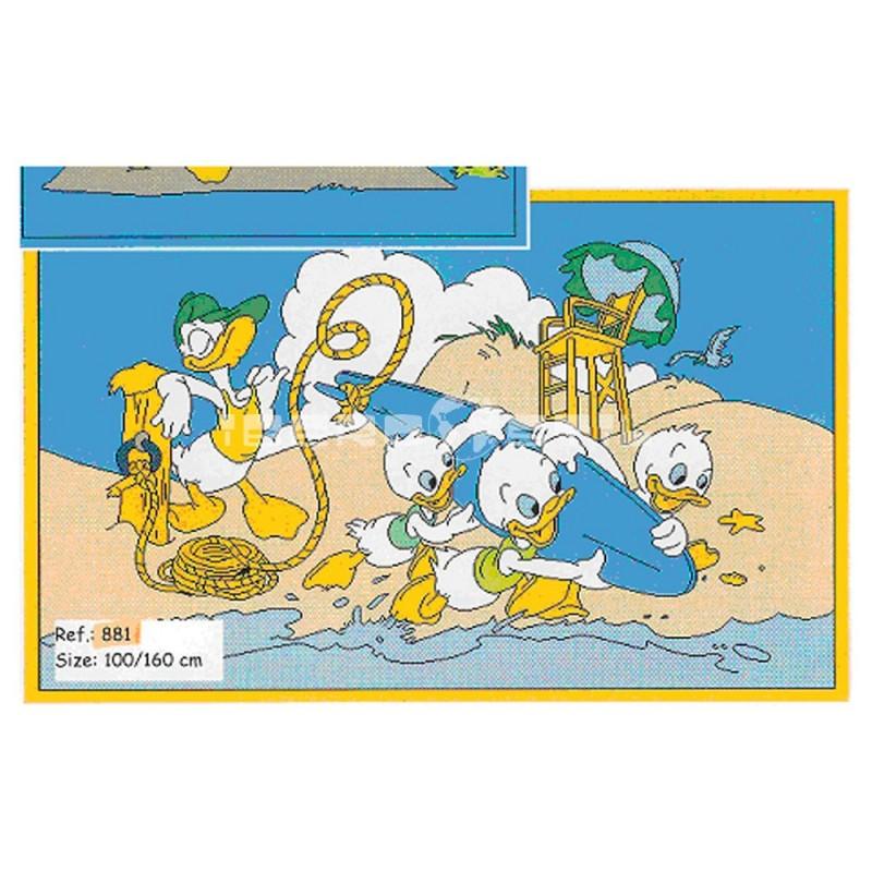 Alfombra Disney Donald en la playa 1x1.60 Beige con SOPORTE ANTIDESLIZANTE