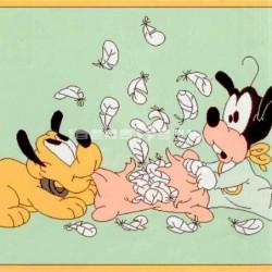 Alfombra Disney Pluto y Goofy 1x1.60 Verde con SOPORTE ANTIDESLIZANTE