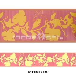 cenefa no adhesiva color ocre con flores rojas y amarillas