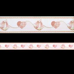 Cenefa adhesiva con estampado de corazones color rosa