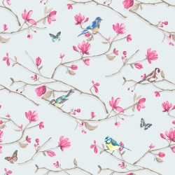 Kira blue pink Bloomsbury Papel Pintado Estampado animal y floral