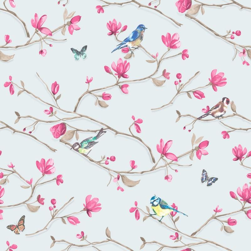 Kira blue pink Bloomsbury Papel Pintado Estampado animal y floral