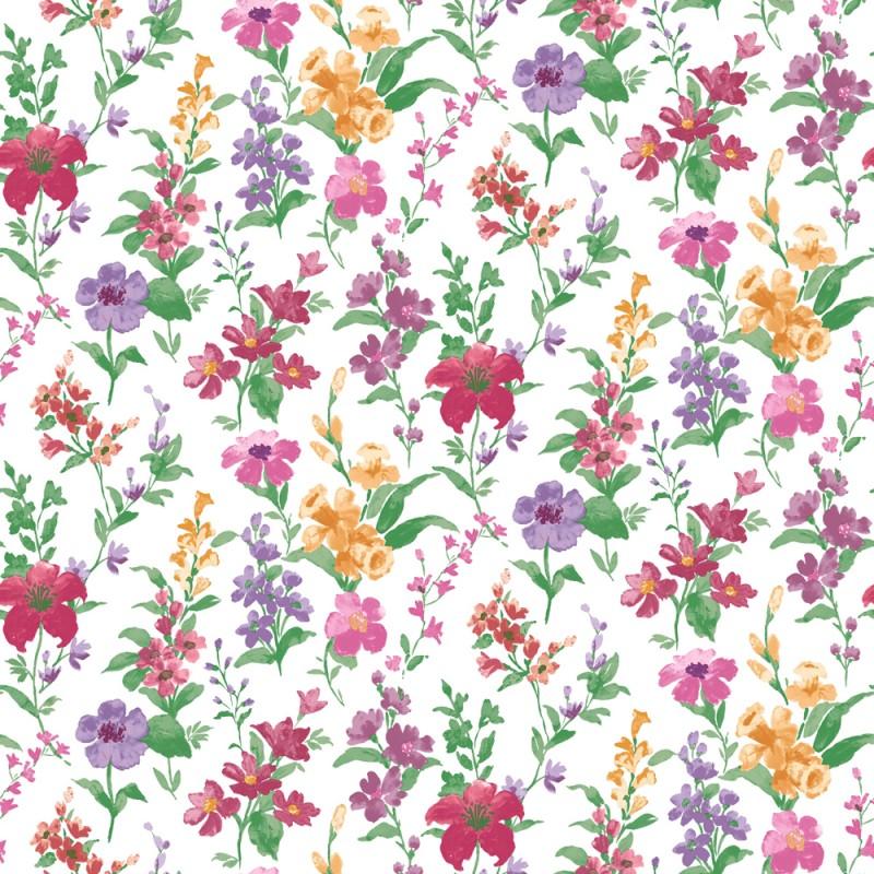 Daphne pink cream Bloomsbury Papel Pintado Estampado floral y colorido