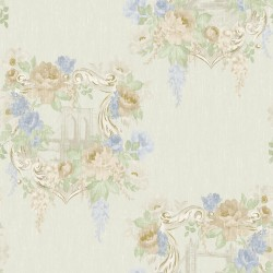 98182 kingston linen blue Bloomsbury Papel Pintado Estampado floral