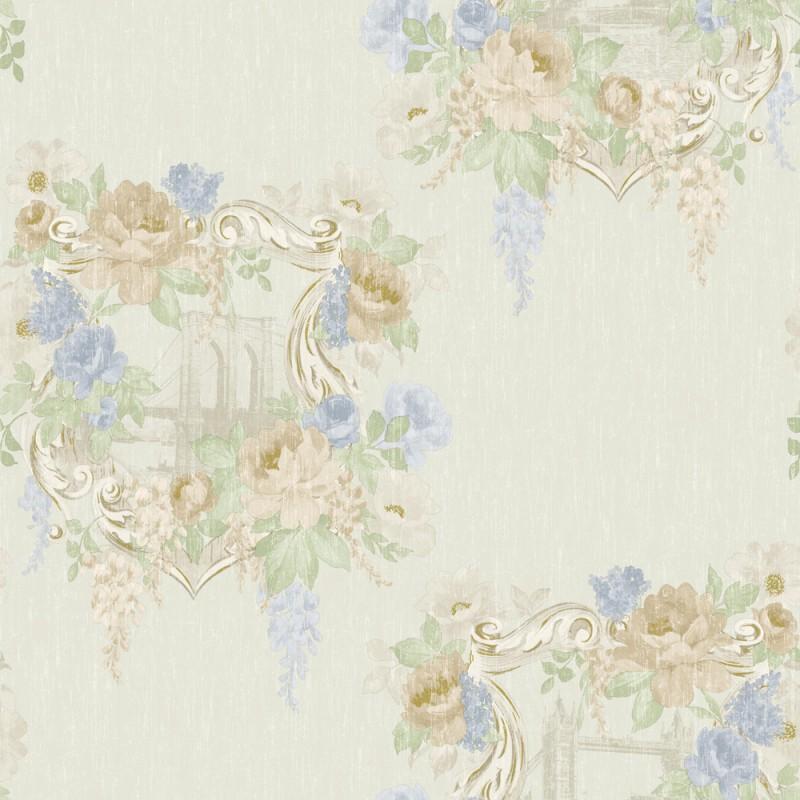98182 kingston linen blue Bloomsbury Papel Pintado Estampado floral