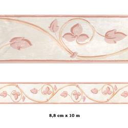 Cenefa no adhesiva con estampado Cenefa beige flores rosas