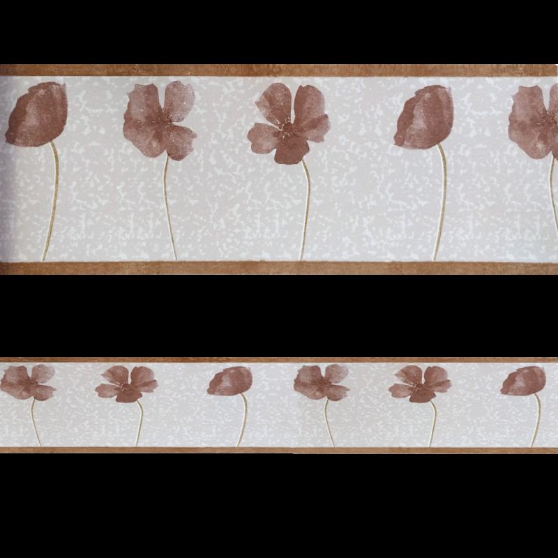 Cenefa semi-adhesiva con estampado floral en tonos marrones